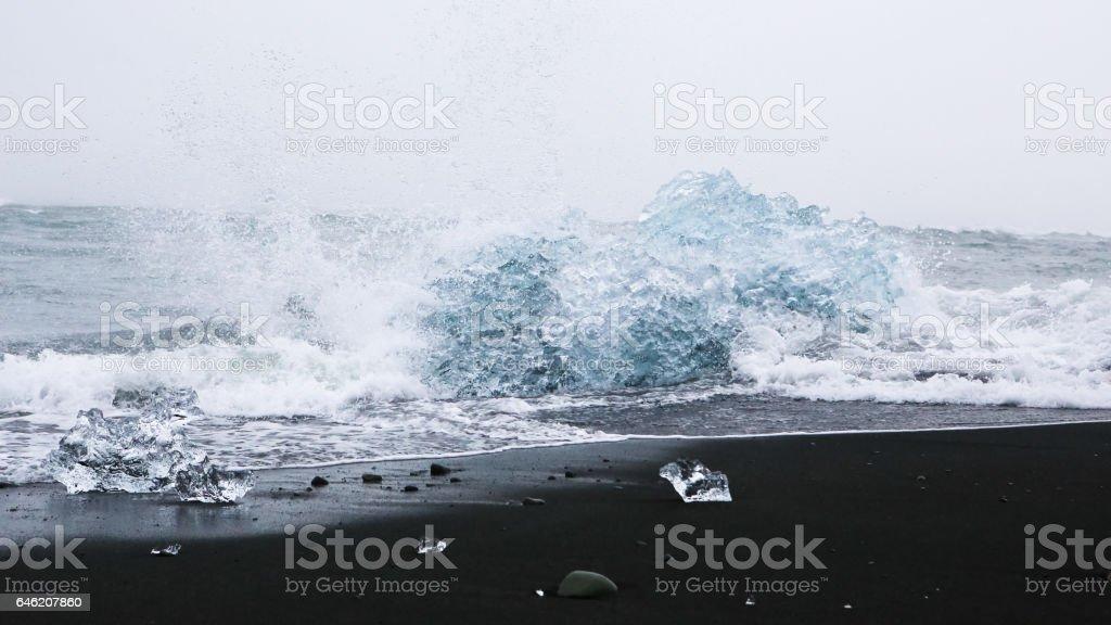Iceland- Jokulsarlon Glacier Atlantic Ocean Black Beaches stock photo
