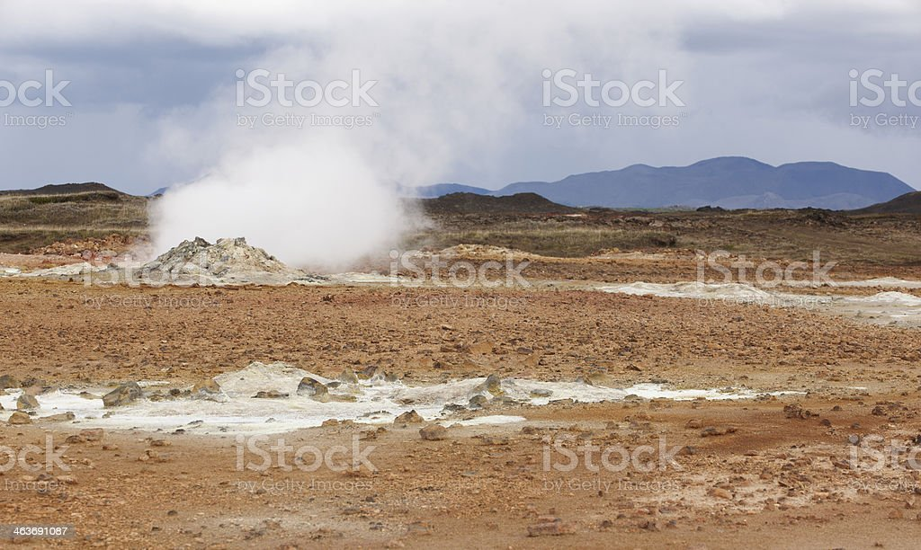 Iceland. Krafla. Active volcanic zone. Geothermical vents. royalty-free stock photo