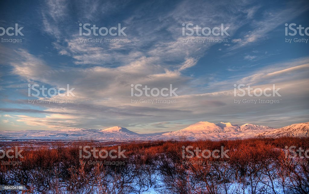 Iceland landscape at sunset stock photo