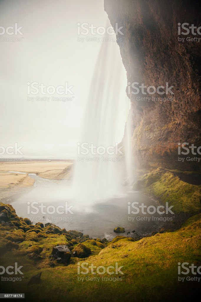 Iceland landscape, Seljalandsfoss waterfall stock photo