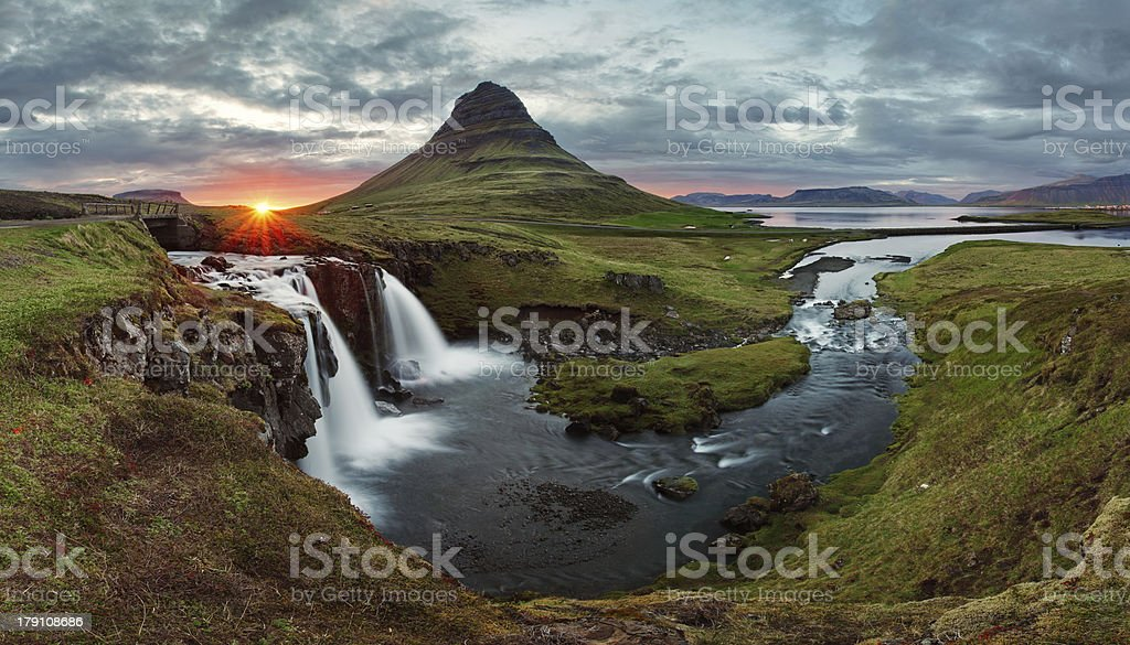 Iceland Landscape spring panorama at sunset stock photo