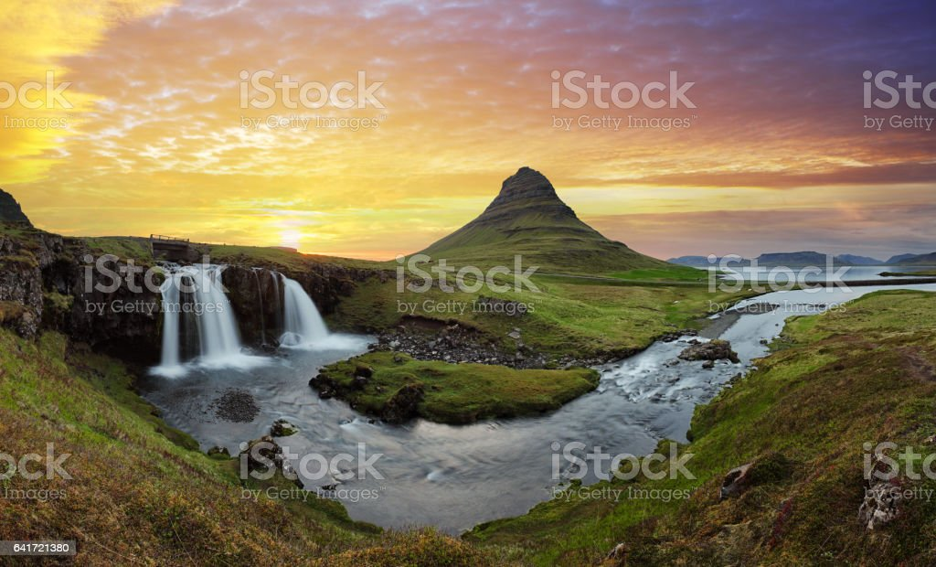 Iceland landscape with volcano and waterfall stock photo