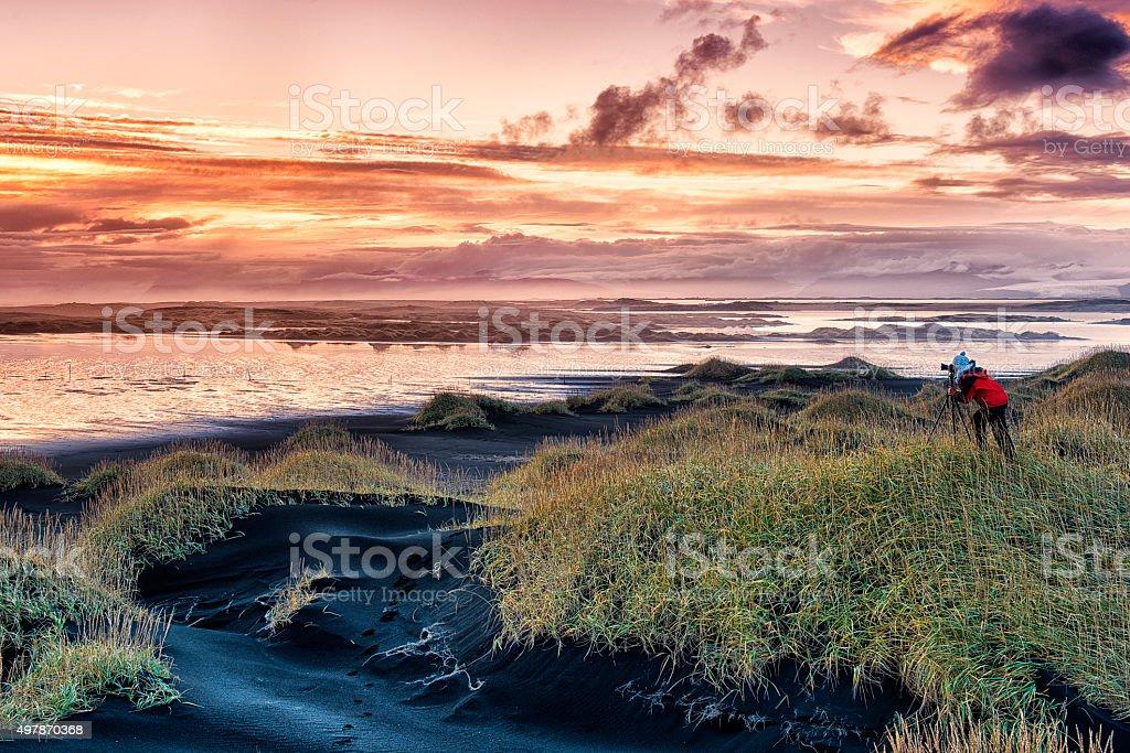 Iceland Lanscape at Sunset, Stokksnes, East Iceland stock photo