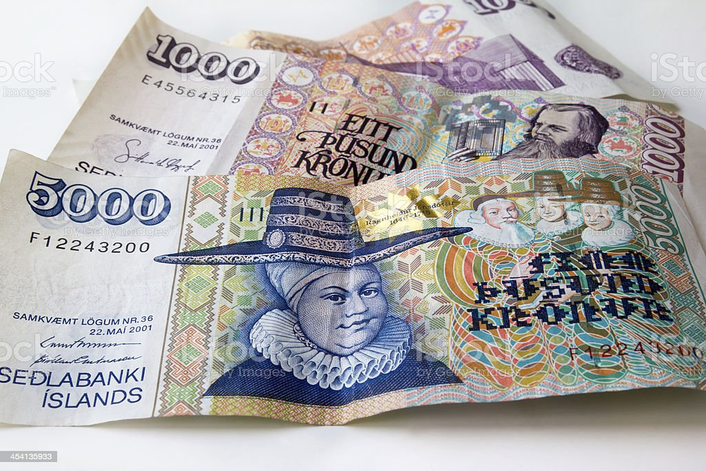 Iceland money stock photo