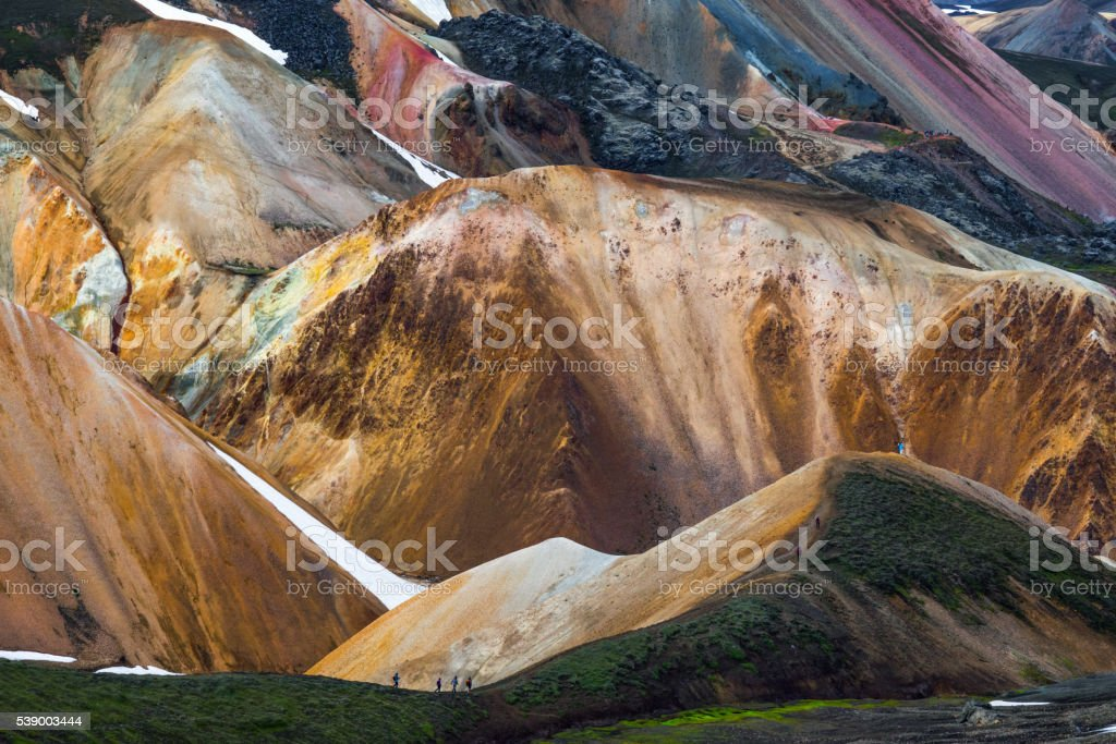 Iceland mountain hikers stock photo