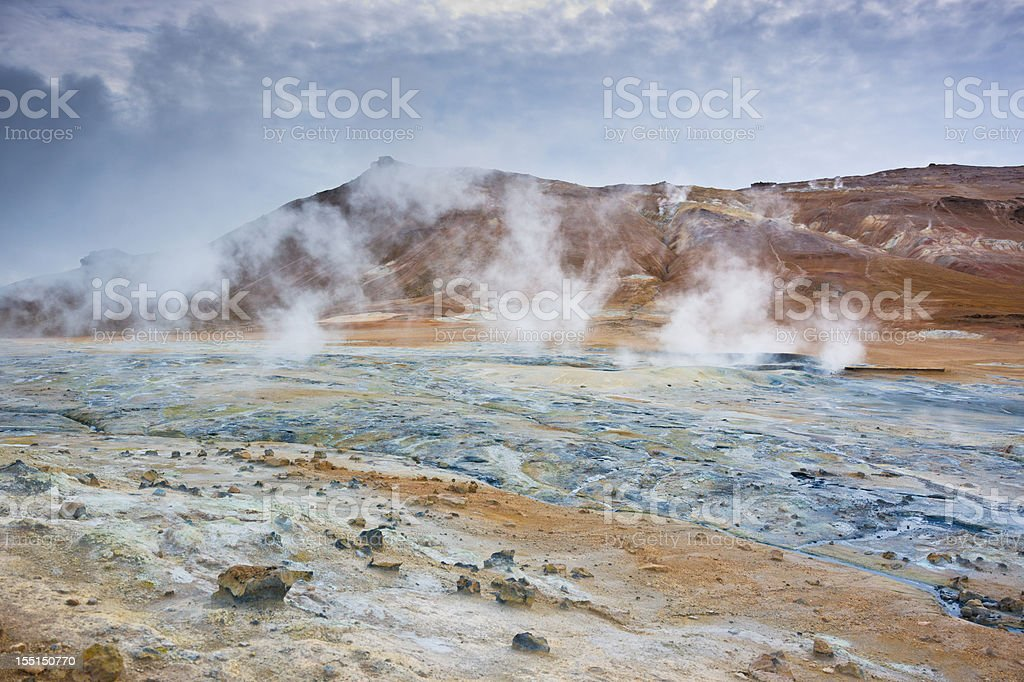 Iceland Namafjall Volcanic Geothermal Landscape stock photo