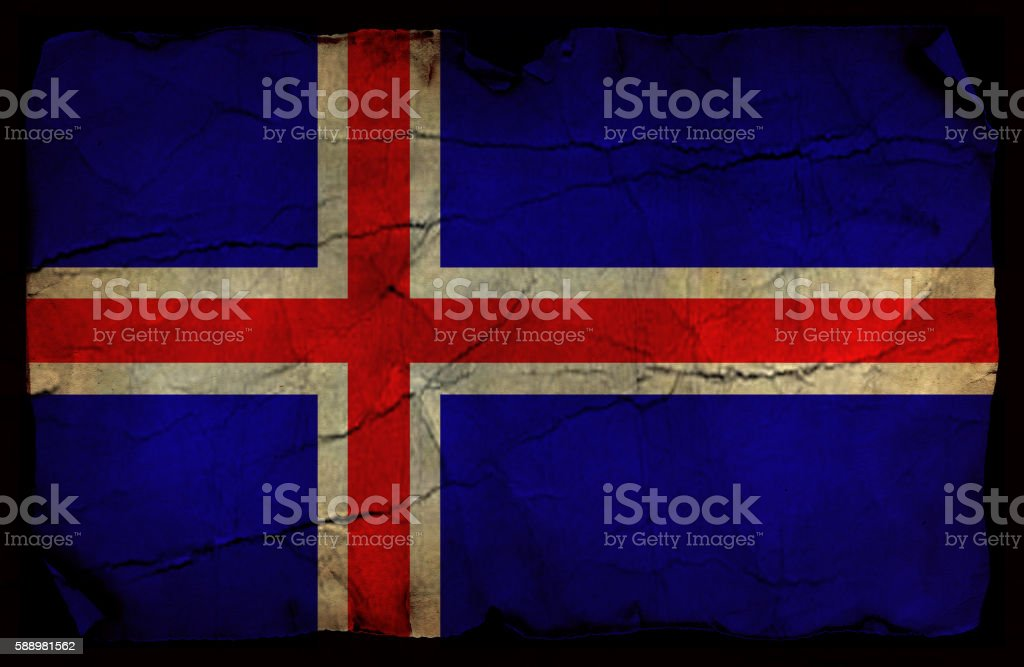 Iceland old flag stock photo