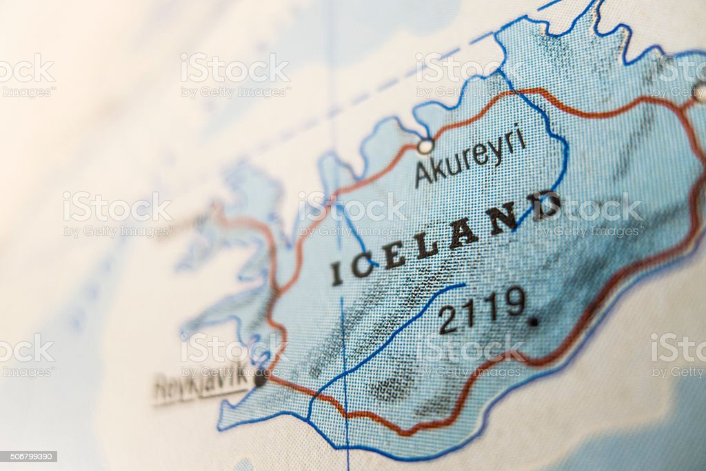 Iceland on map stock photo