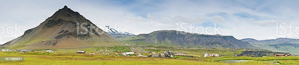 Iceland remote Arctic village mountain fjord panorama stock photo