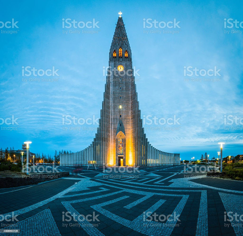 Iceland Reykjavik Hallgrimskirkja church iconic cathedral illuminated in Arctic dusk stock photo