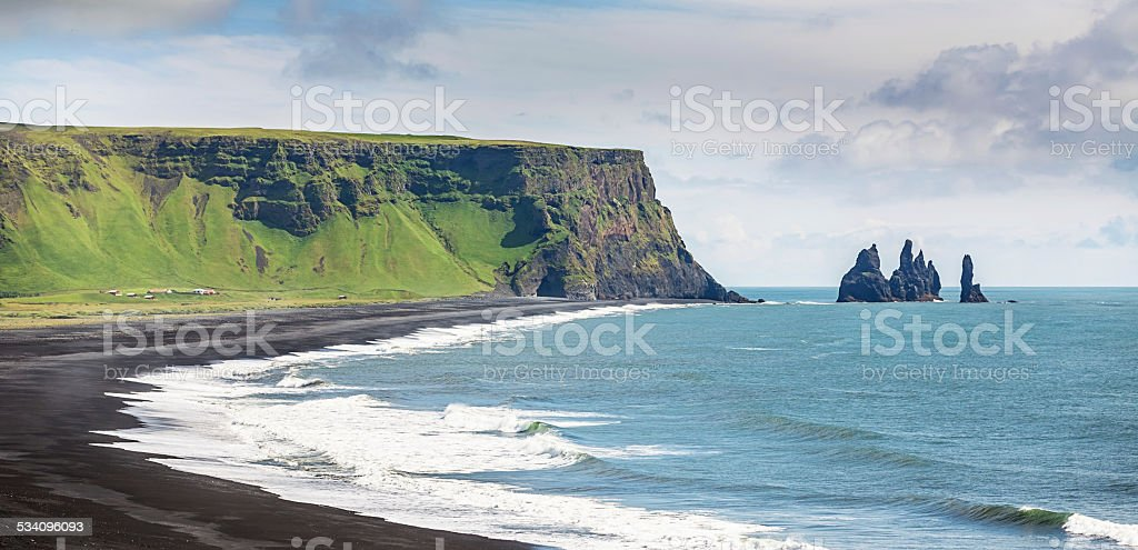 Iceland Reynisdrangar Sea Stacks at Vik stock photo