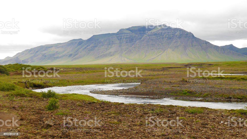 Iceland River and Mountains stock photo