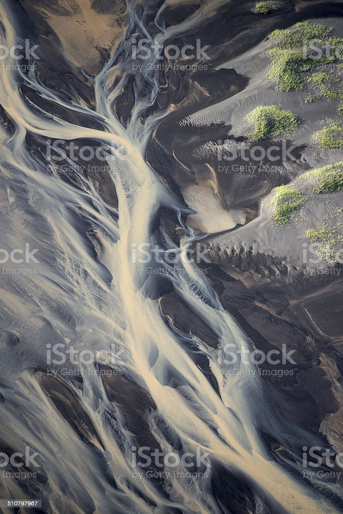 Iceland River Delta Aerial View stock photo