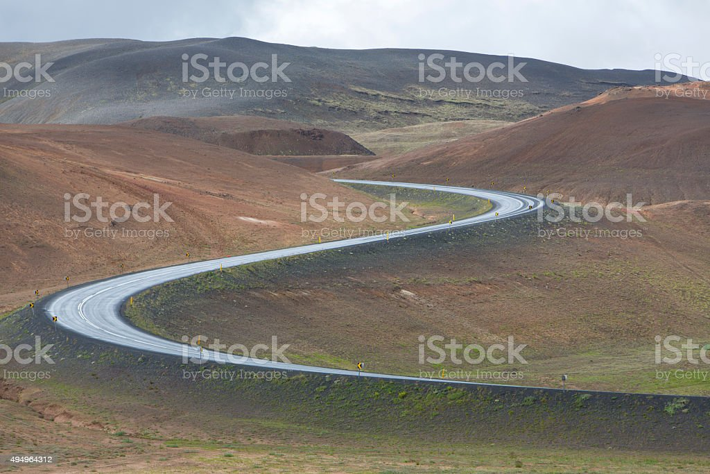 Iceland, road near geothermal field near krafla,myvatn stock photo