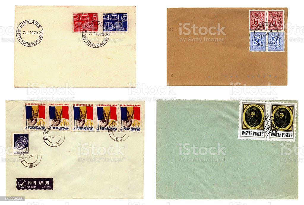 Iceland, Romania, Hungary and Belgium envelopes royalty-free stock photo