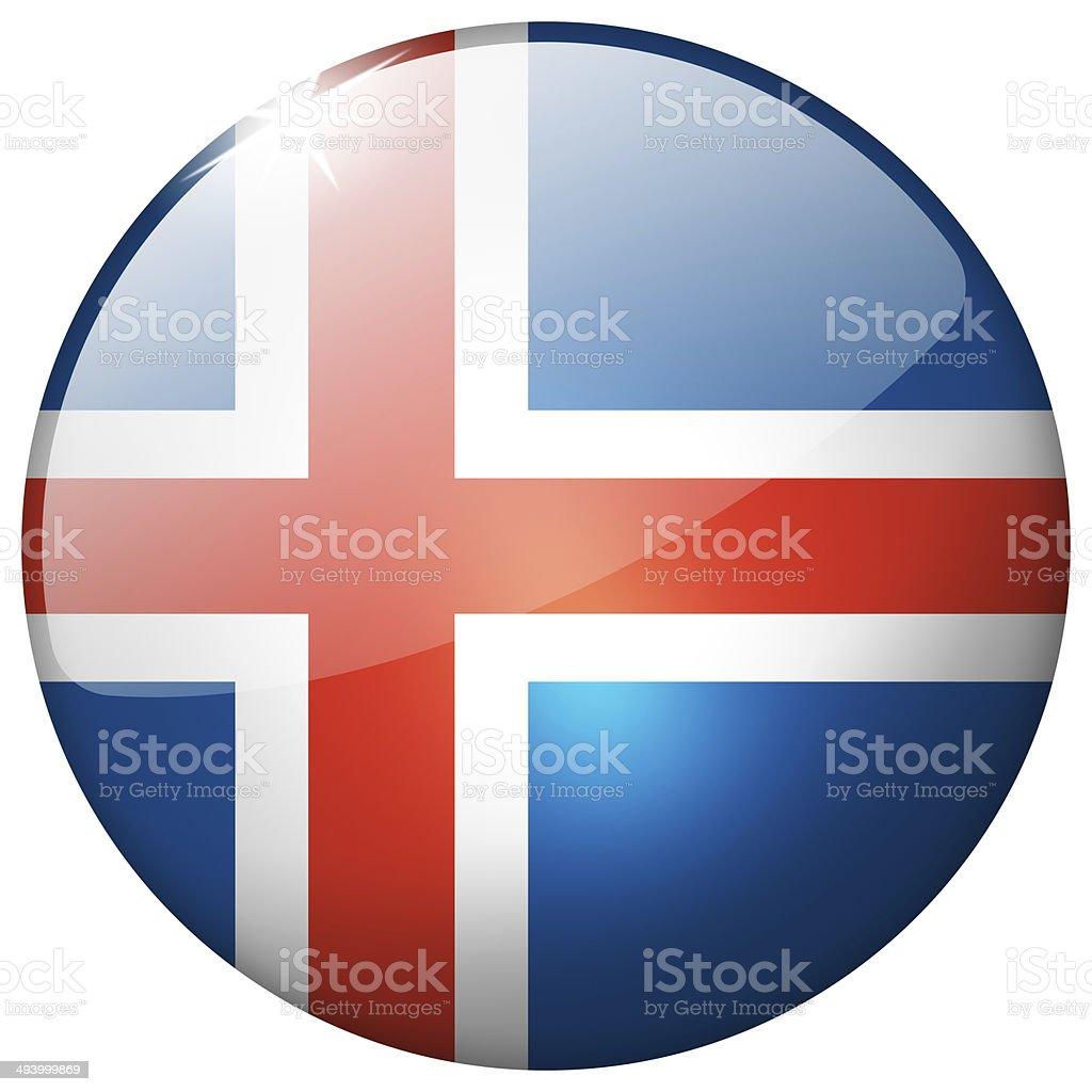 Iceland Round Glass Button stock photo