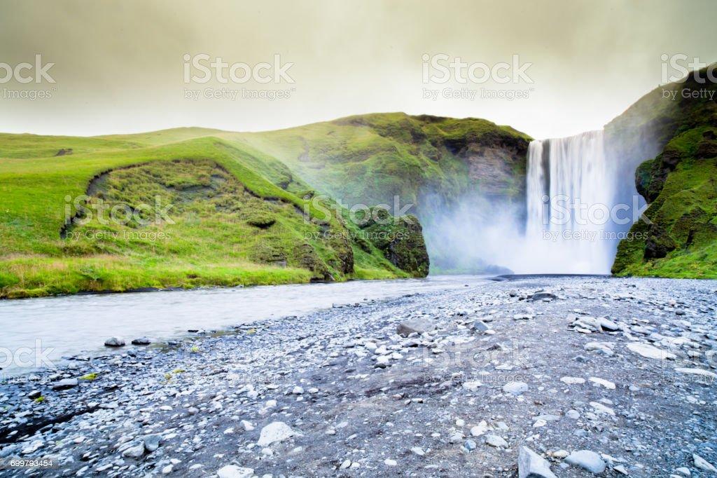 iceland skogafoss waterfall stock photo