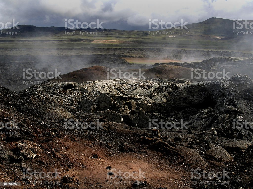 Iceland: Smoking Lava Fields royalty-free stock photo