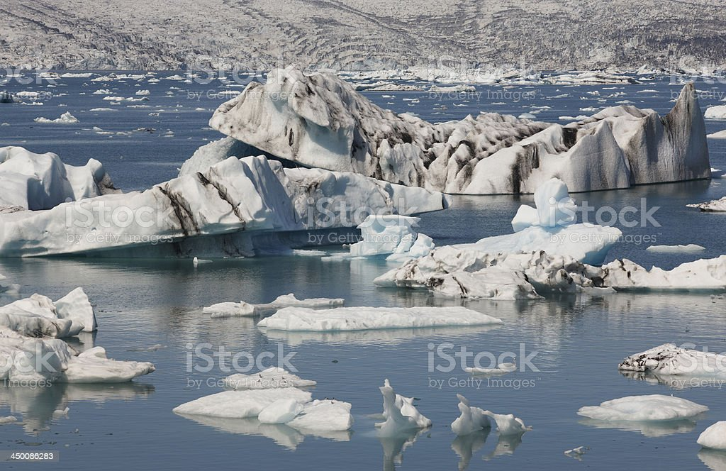 Iceland. Southeast area. Jokulsarlon. Icebergs, lake and glacier. royalty-free stock photo