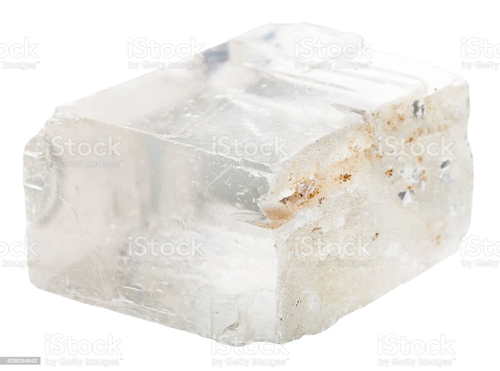 iceland spar mineral stone isolated on white stock photo