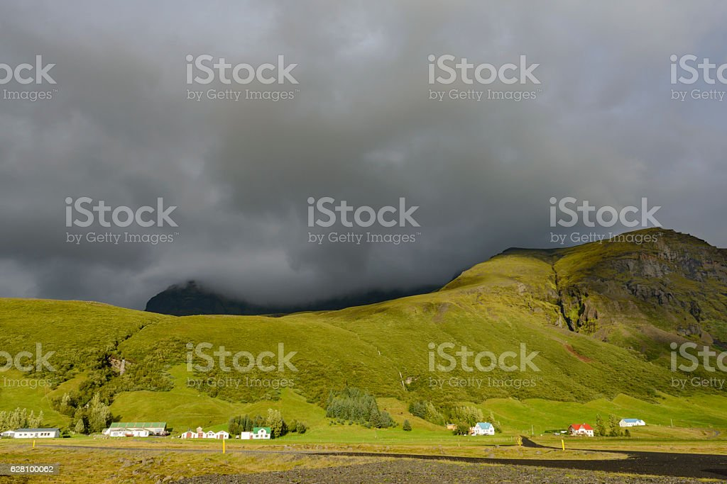 Iceland sunlight on the mountains in Skaftafell National Park stock photo