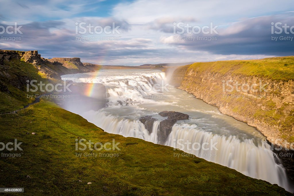 Iceland, sunset behind at Gullfoss stock photo