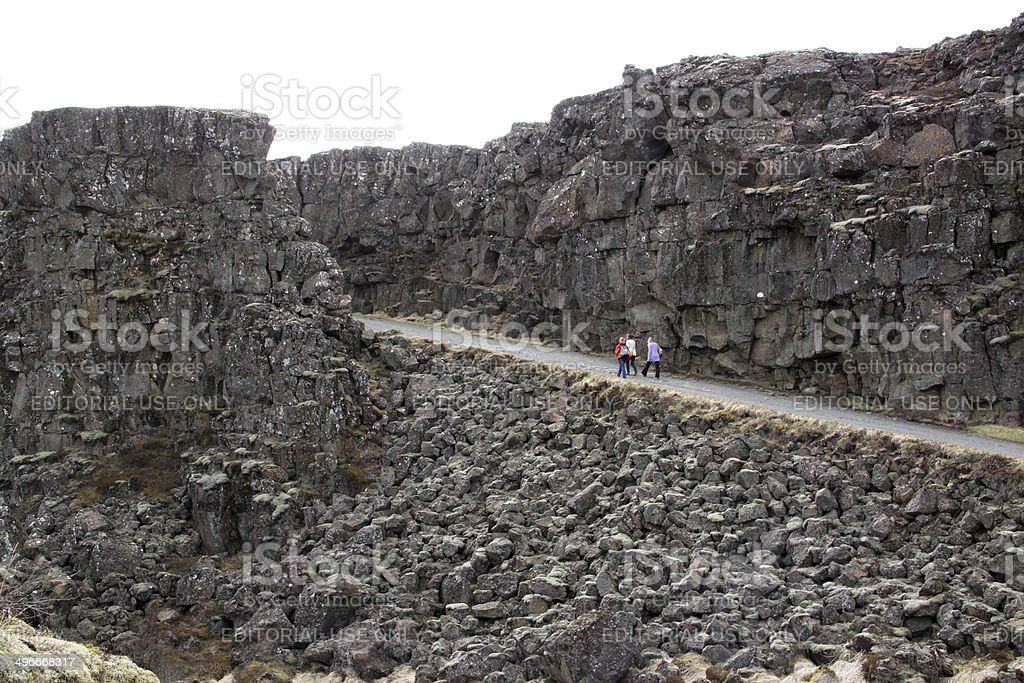 Iceland: Tectonic Plates meet at ?ingvellir stock photo
