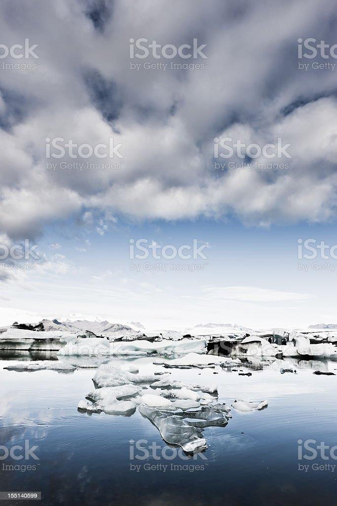 Iceland Vatnajokull Icy Glacier and Icebergs Early Morning Scene royalty-free stock photo