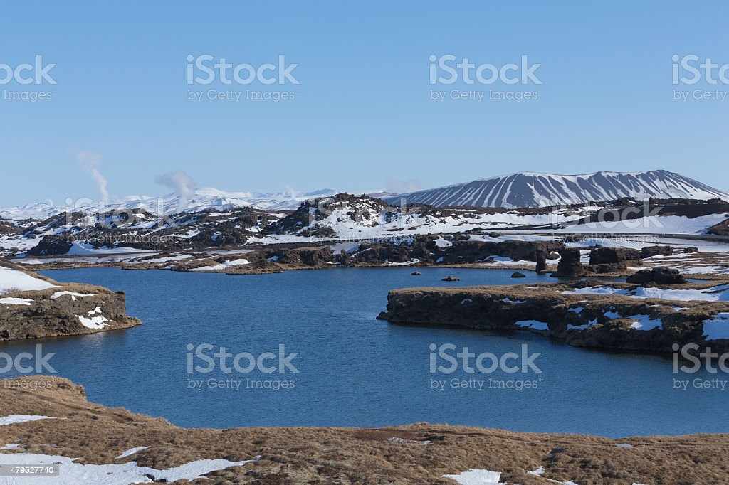 Iceland volcano near Myvatn city north of Iceland during winter stock photo