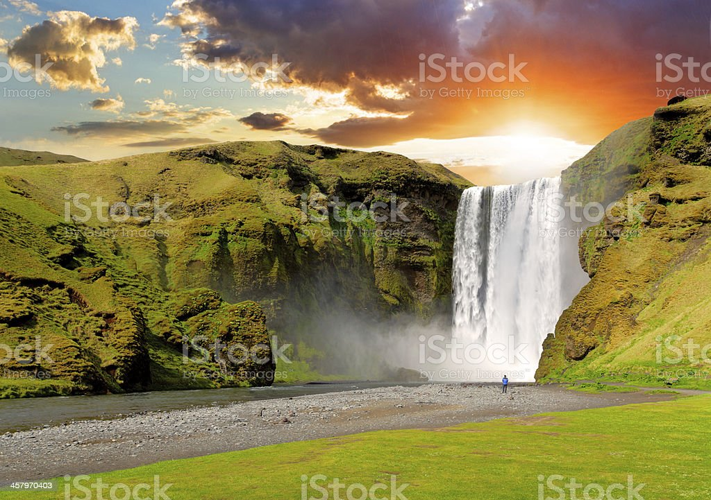 Iceland, waterfall - Skogafoss stock photo