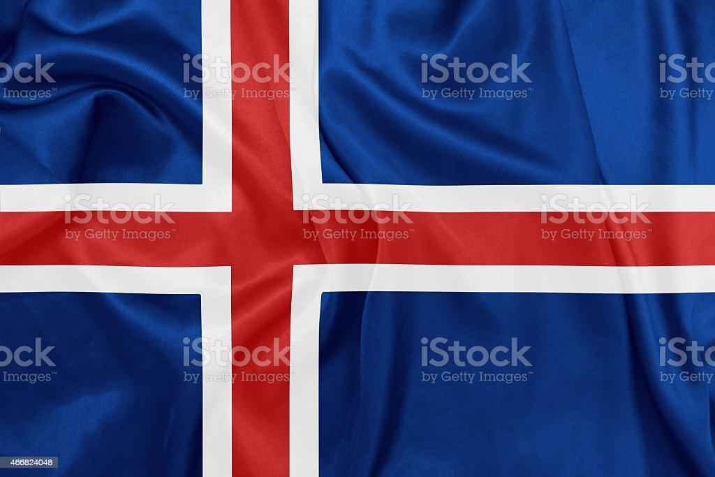 Iceland - Waving national flag on silk texture stock photo