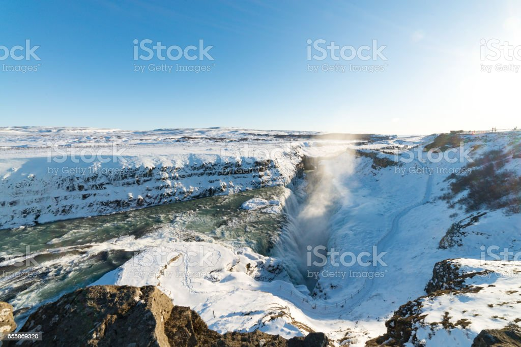 Iceland winter fall landscape, snow, sky stock photo