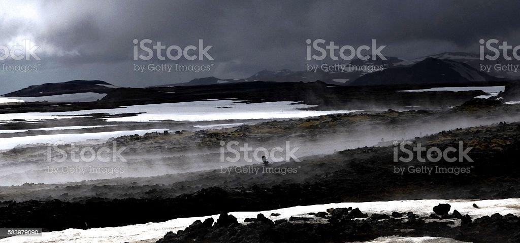 Icelandic Basalt Lava steaming after rainfall stock photo
