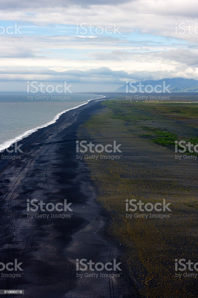 Icelandic black sand beach stock photo