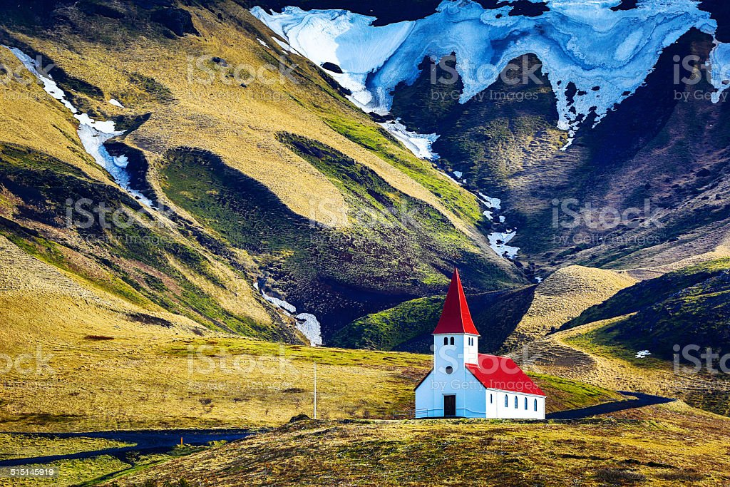 Icelandic church in Vik, South Iceland stock photo