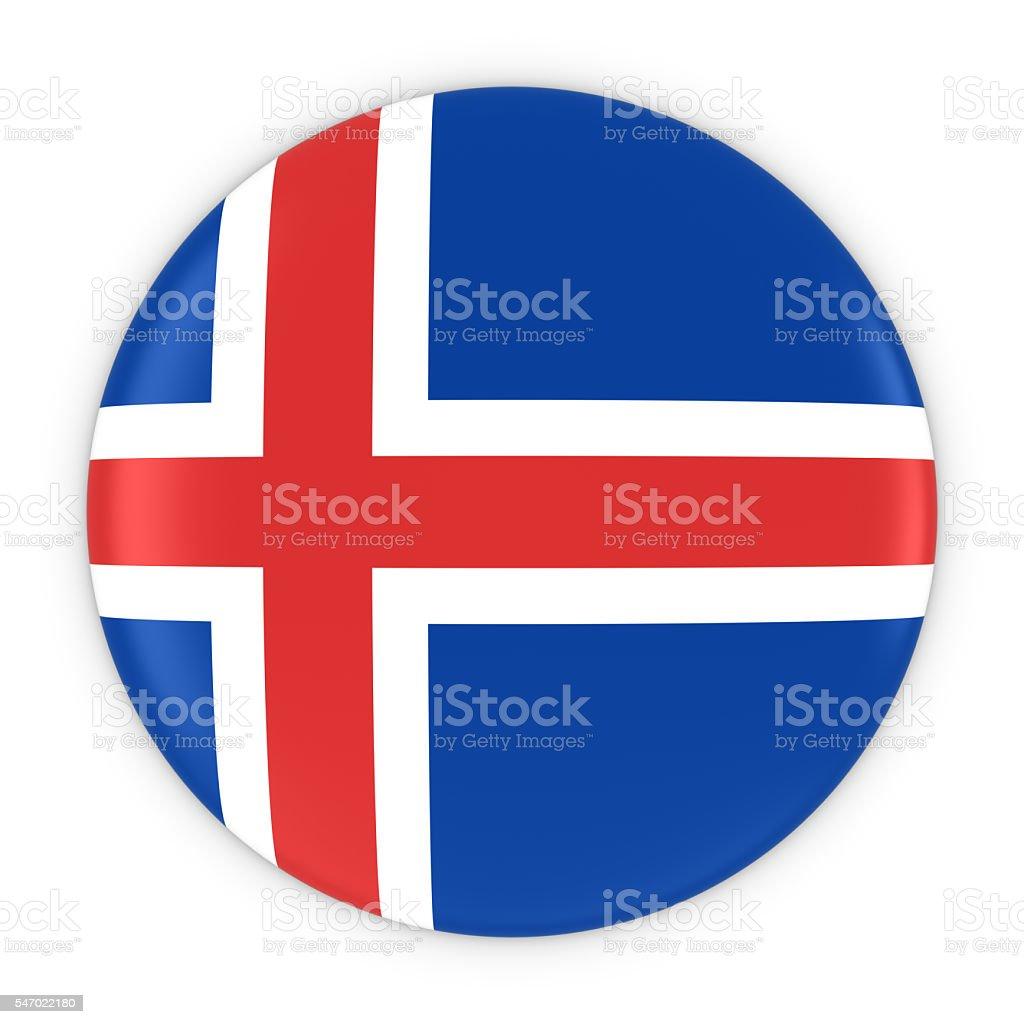 Icelandic Flag Button - Flag of Iceland Badge 3D Illustration stock photo