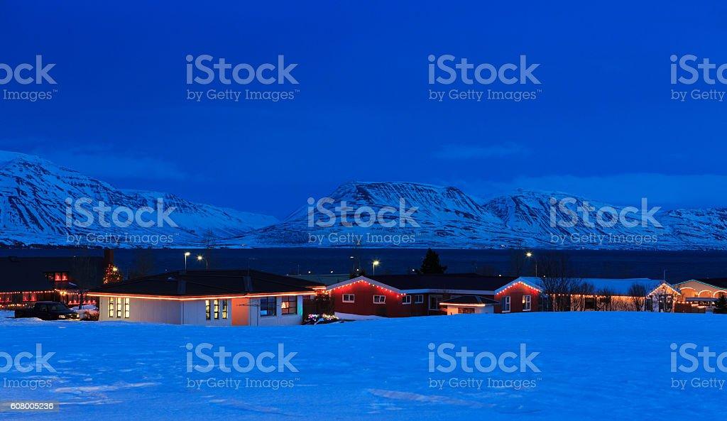 Icelandic houses with Christmas decorations ( near Akureyri) North Iceland. stock photo