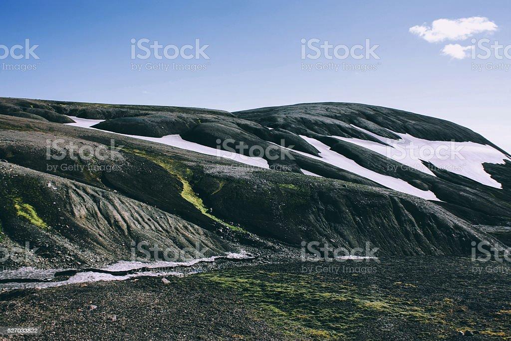 Icelandic landscape. Beautiful mountains and volcanic area stock photo