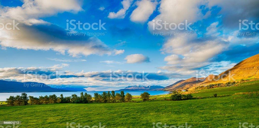 Icelandic landscape near Akureyri stock photo