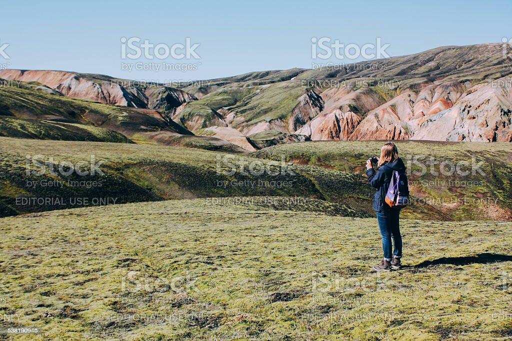 Icelandic landscape with mountain tourist in Landmannalaugar stock photo