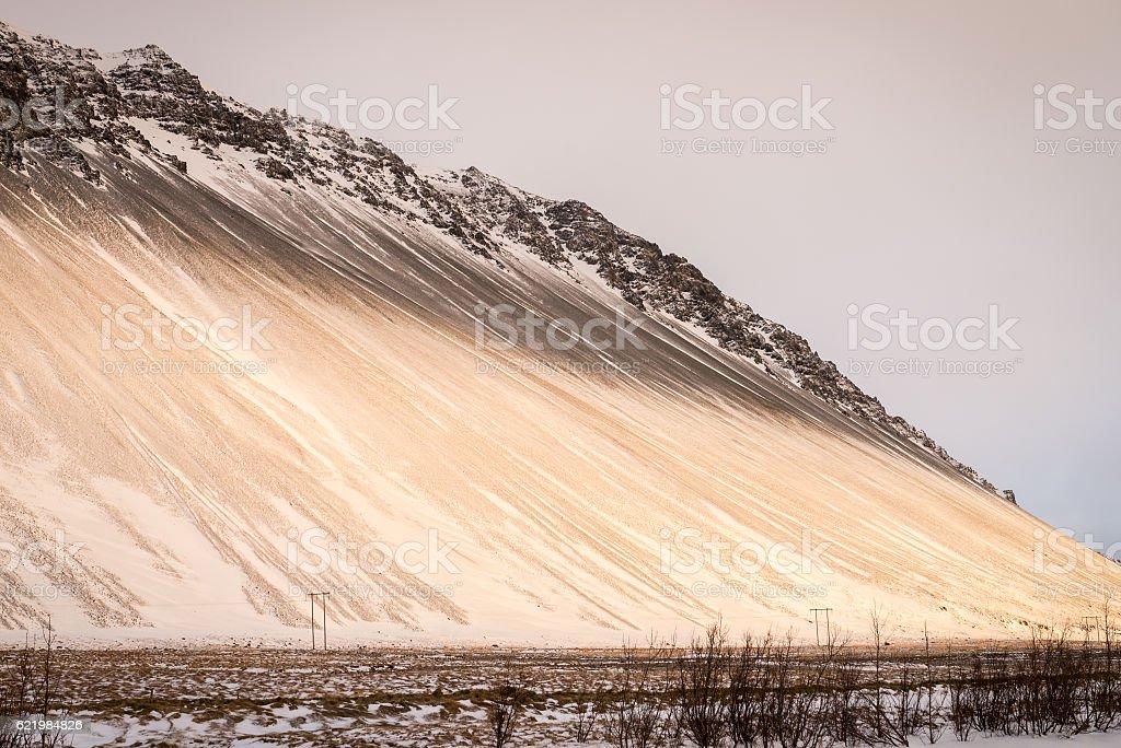 Icelandic mountains with beautiful sunset light stock photo