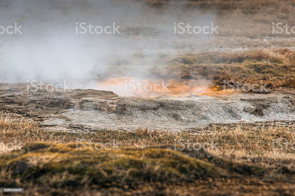 Icelandic nature with geothermal activity stock photo