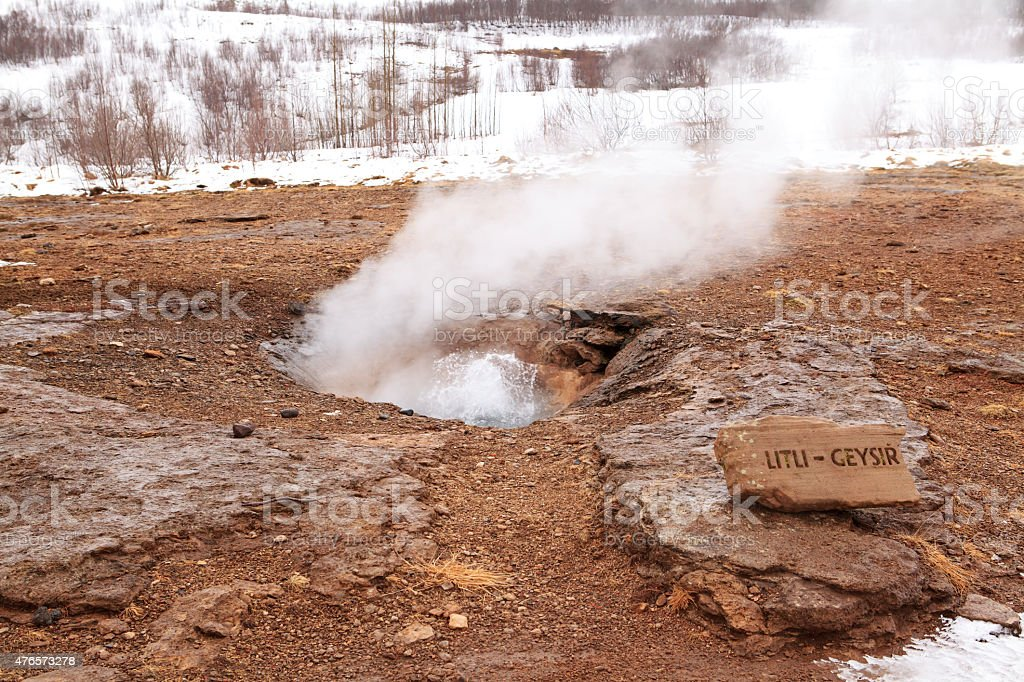 Icelandic small geyser in Strokkur stock photo