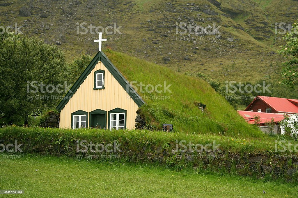 Icelandic turf church stock photo