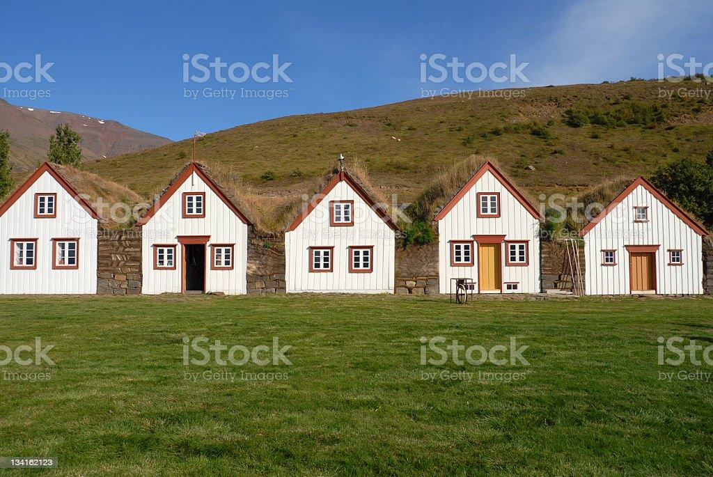 Icelandic turf houses in Laufas near Akureyri,Iceland stock photo