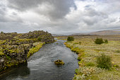 Icelandic volcanic landscape with a river