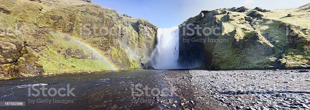 Icelandic waterfall at Skogafoss stock photo