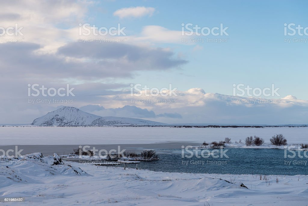 Icelandic winter landscape among Myvatn lake stock photo