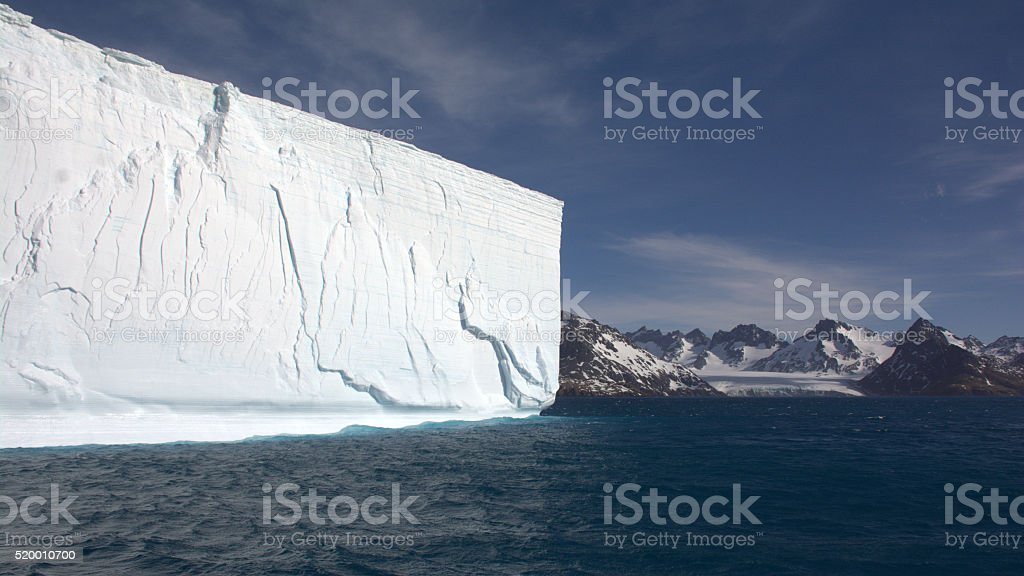 Iceshelf floating in Royal Bay, South Georgia stock photo