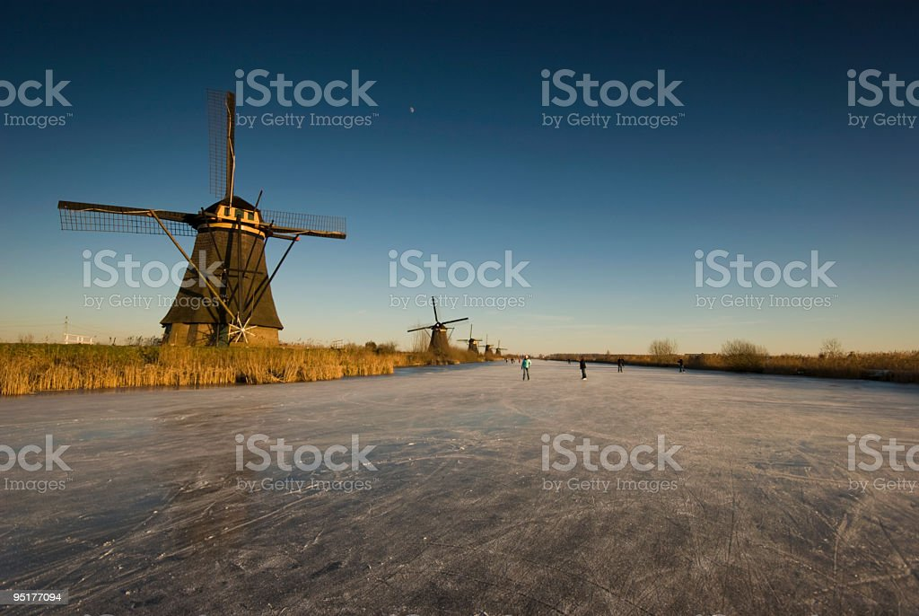 Iceskating in Holland royalty-free stock photo
